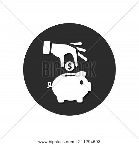 Hand put money in piggy box round icon. Save money business concept. Piggy bank illustration. Vector flat style circle icon.