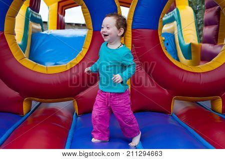 Funny Toddler Run On Trampoline