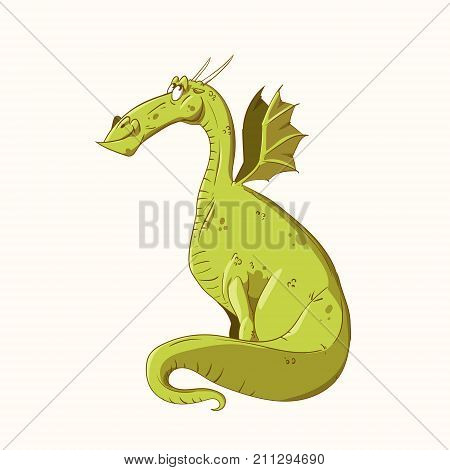 Colorful vector illustration of a cartoon green dragon happy and smiling.
