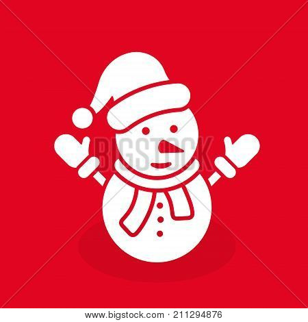 Snowman icon vector simple symbol. Snowman white silhouette illustration isolated on red.