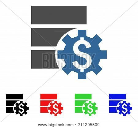 Bank Database Options icon. Vector illustration style is a flat iconic bank database options symbol with black, red, green, blue color versions. Designed for web and software interfaces.