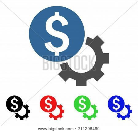 Development Cost icon. Vector illustration style is a flat iconic development cost symbol with black, red, green, blue color variants. Designed for web and software interfaces.