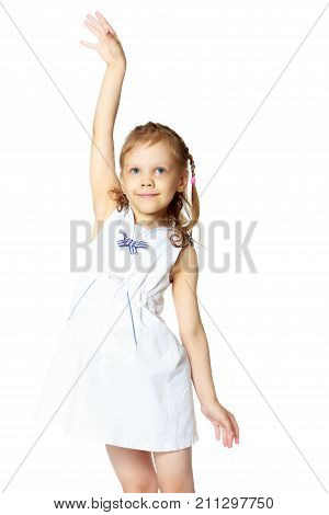 Little girl gesticulating. The concept of people, the child, childhood, play in the theater, reincarnation. Isolated on white background.
