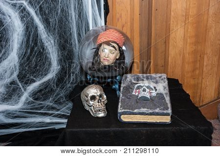 Halloween skull, spell book tome, and disembodied head inside glass globe as spooky table decorations.