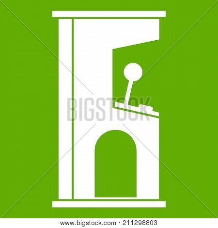 Retro style arcade game machine icon white isolated on green background. Vector illustration
