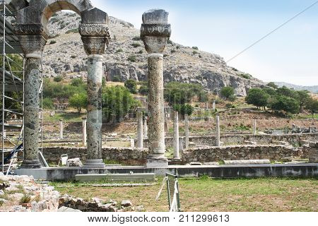 Columns near Philippi. Columns in ancient Philippi that are remains of an ancient basillica built in the 6th century. Philippi was an ancient city recorded in Acts 16.