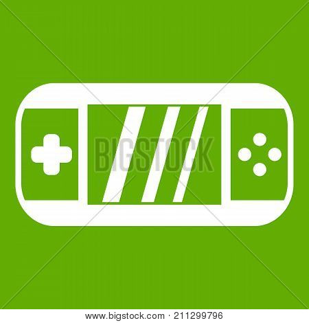 Portable video game console icon white isolated on green background. Vector illustration