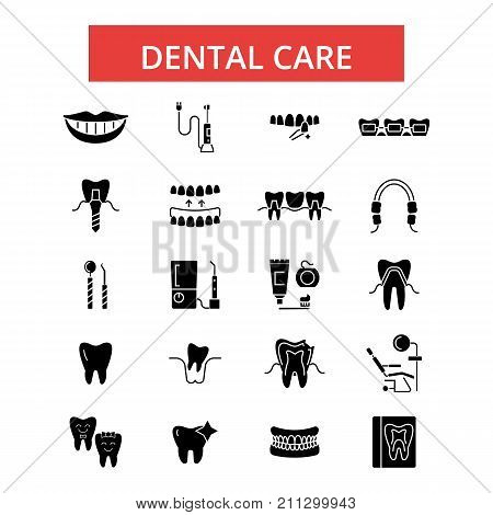 Dental care illustration, thin line icons, linear flat signs, outline pictograms, vector symbols set, editable strokes