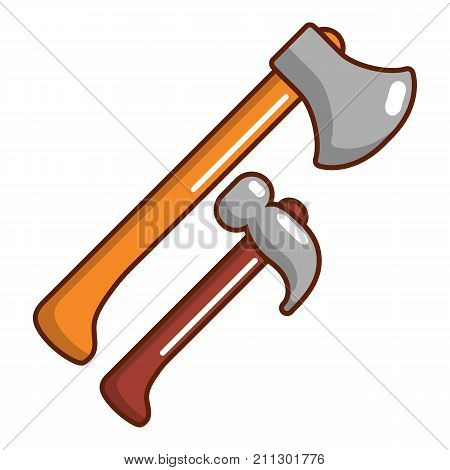 Hammer and axe icon. Cartoon illustration of hammer and axe vector icon for web