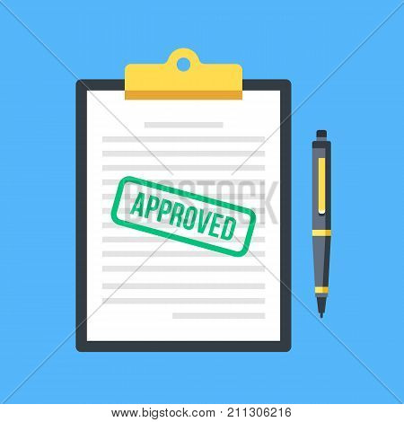 Approved application. Clipboard with document, green approved stamp and pen. Top view. Modern flat design graphic elements, concepts. Vector illustration