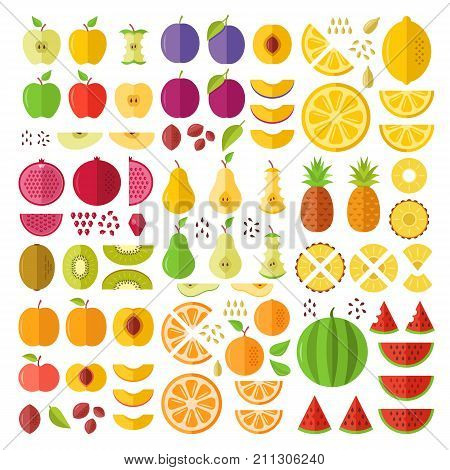 Fruits. Flat icons set. Whole fruits, slices, cuts, wedges, halves, seeds, pits, etc. Flat design graphic elements for web sites, mobile apps, web banner, infographics, printed materials. Vector icons