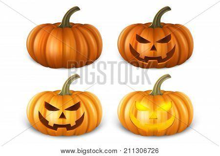Realistic pumpkin set - head jack lantern icon closeup isolated on white background. Halloween Symbol. Design template, stock vector illustration, eps10.