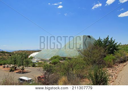 TUCSON, ARIZONA, USA --April 21, 2014:  The University of Arizona's Biosphere 2 Research Center in Tucson, Arizona, USA.
