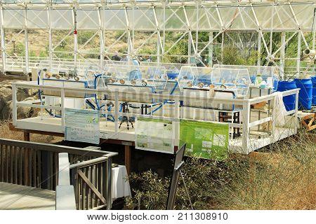 TUCSON, ARIZONA, USA --April 21, 2014:  Research station inside The University of Arizona's Biosphere 2 Research Center in Tucson, Arizona, USA.