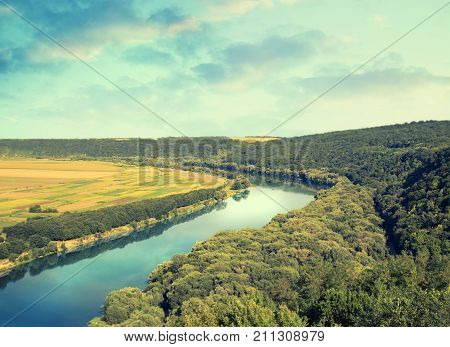 Panoramic View On River Nistru In The Soroca Town, Moldova, The North-eastern Part Of The Country. P