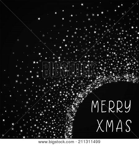 Merry Xmas Greeting Card. Amazing Falling Stars Background. Amazing Falling Stars On Black Backgroun