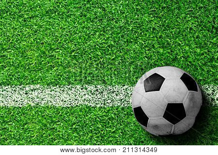 Soccer Ball On Field With Copy Space
