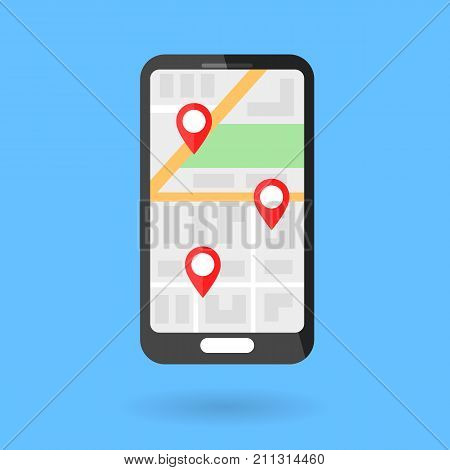 Phone with city map and local markers. Vector flat illustration. GPS navigation. Blue background.