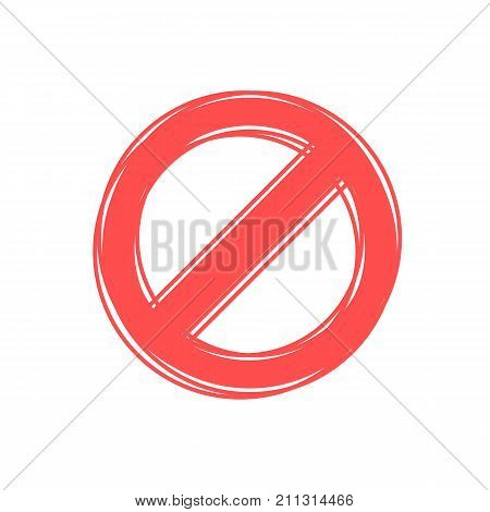 Prohibited red vector sign in flat style. Icon for your design. Modern vector illustration on white background.