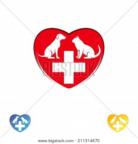 Logo vet clinic pet care. Dog and cat in the heart. Vector logo template. Vector logo template