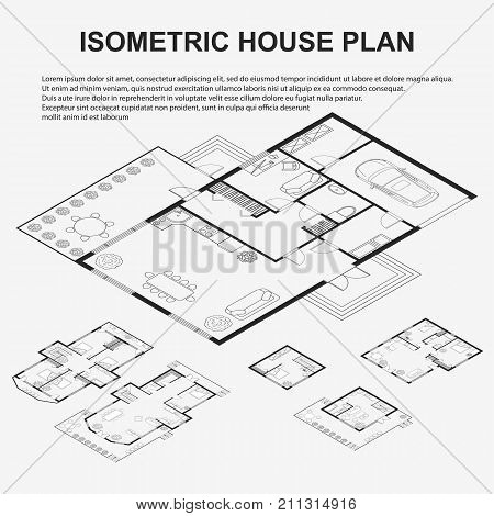 Set of Black and White architectural plans of a house in isometric. Layout of the apartment with the furniture. Architectural background template in isometric. Vector illustration