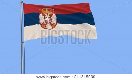 Isolate flag of Serbia on a flagpole fluttering in the wind on a blue background 3d rendering