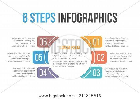 Infographic template with six steps or options, workflow, process diagram, vector eps10 illustration