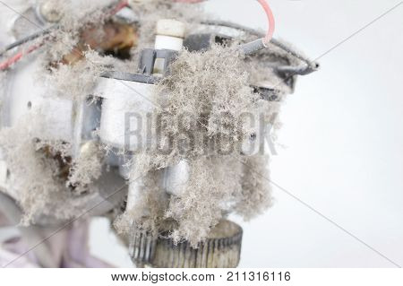 Close Up Dust On Motor Electric Fan And Copy Space