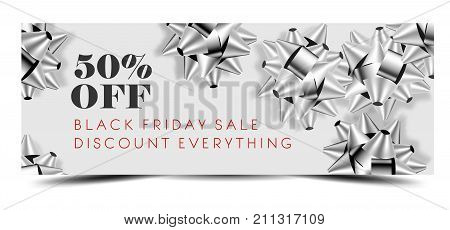 Black Friday sale discount promo offer banner or shop 50 percent price off advertising flyer and coupon. Vector design of silver gift bows on sparkling glitter background