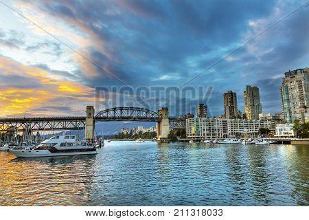 Granville Island Sunset Burrard Street Bridge Yachts Apartment Buildings Vancouver British Columbia Canada