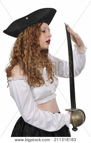 Young beautiful pirate woman with cutlass saber sword
