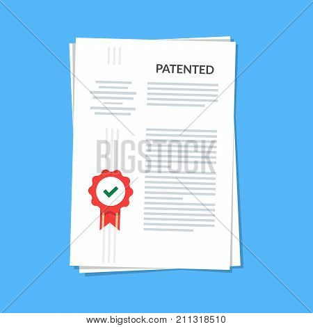 Patented document with approved stamp. Registered intellectual property, idea of patent license certificate. vector icon illustration, flat cartoon paper doc isolated on blue background