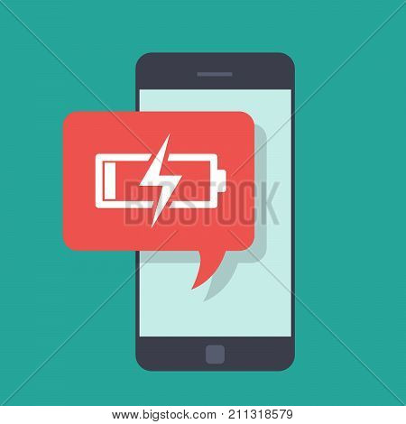 Message on the mobile phone about low battery charge. Little energy. Low charge on the mobile phone. You need to charge the portable device. Vector flat illustration isolated