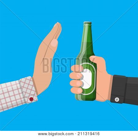 Alcohol abuse concept. Hand gives bottle of beer to other hand. Stop alcoholism. Rejection. Vector illustration in flat style.