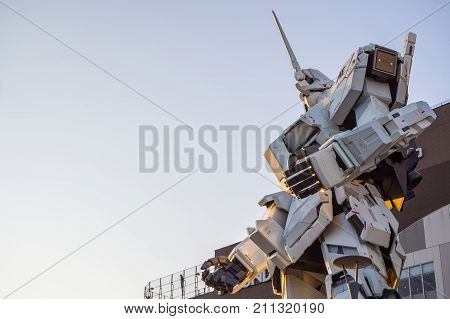 Unicon Gundam Scale 1:1 Model Of Rx-0  Mobile Suit Statue At Diver City,  Odaiba ,tokyo, Japan Octob