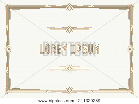 Greeting card template art deco style horizontal orientation with gold frame on white background for party, menu restaurant, wedding invitation card, sale, cafe. Arabic frame. Vector Illustration