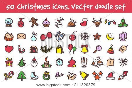 Vector doodle christmas icons set. Stock cartoon signs for design.