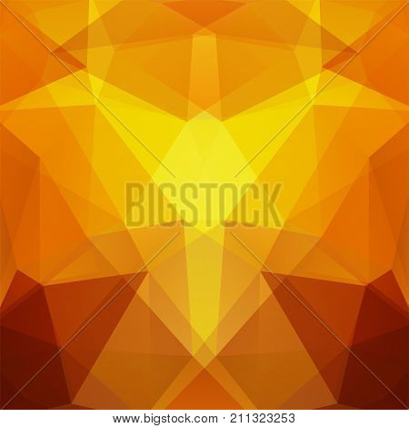 Background Made Of Yellow, Orange Triangles. Square Composition With Geometric Shapes. Eps 10
