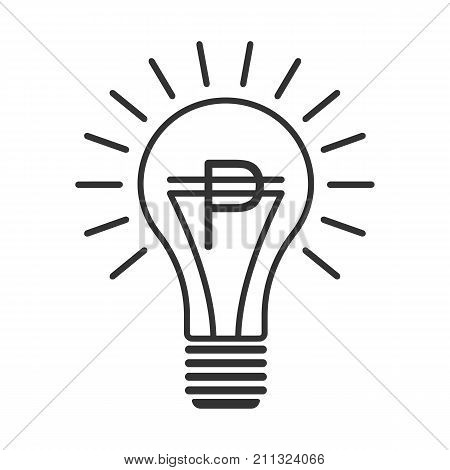 Black outline vector lightbulb with peso, simple linear business idea. Flat isolated latin america finance money symbol with south american pesos currency sign in the bulb