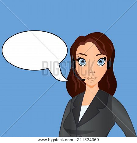 Caucasian female operator of technical support wearing headphone set. Young technical support operator with text bubble. Vector cartoon illustration.