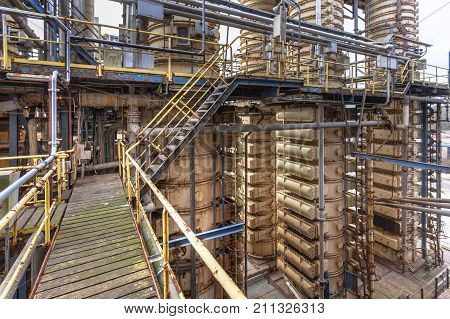 Distillation Towers in an Oil Refinery chemical factory