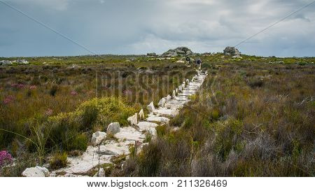 Hikers walk along a stony trail towards rain clouds in Cape Point Nature Reserve, South Africa
