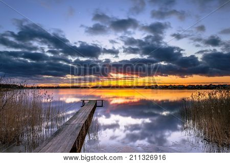 Conceptual Mood Concept Colorful Sunset in the Netherlands