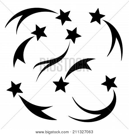 Set falling silhouette stars vector. Shooting stars isolated white background. Icons of meteorites and comets