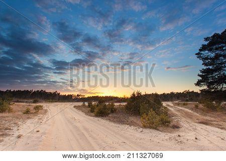Sunset Over Stroese Zand Drift Sand Nature Reserve