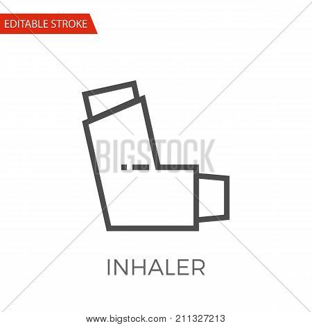 Inhaler Thin Line Vector Icon. Flat Icon Isolated on the White Background. Editable Stroke EPS file. Vector illustration.