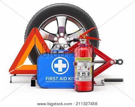 Car fire extinguisher, first aid kit, scissor jack and warning triangle - 3D illustration with DOF effect