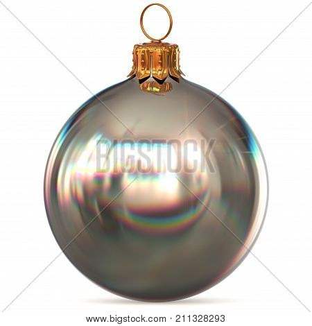 Christmas ball decoration silver white bauble closeup New Year's Eve hanging adornment polished traditional Merry Xmas wintertime ornament sparkling. 3d rendering illustration