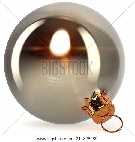 Christmas ball silver white metallic decoration closeup New Year's Eve bauble hanging adornment traditional Merry Xmas wintertime ornament excellent. 3d rendering illustration