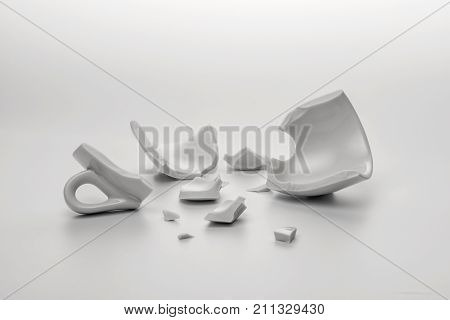 Broken White Cup With Few Little Pieces, Concept Disintegration